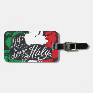 Etiqueta Para Maletas Guarde la calma y ame Italia