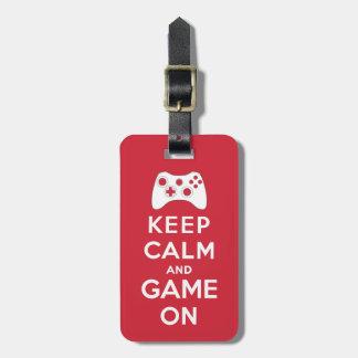 Etiqueta Para Maletas Guarde la calma y el juego encendido