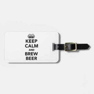 Etiqueta Para Maletas Guarde la cerveza de la calma y del brew