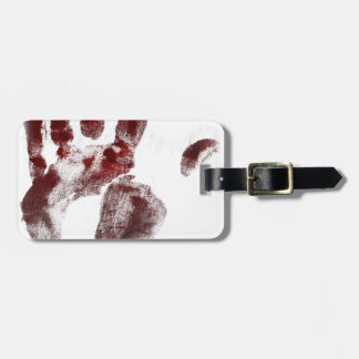 Etiqueta Para Maletas Handprint de la sangre del asesino en serie