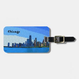 Etiqueta Para Maletas Horizonte de Chicago en pintura del collage