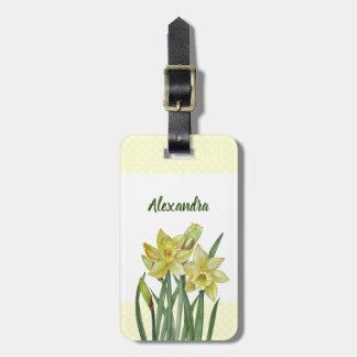 Etiqueta Para Maletas Ilustracion del retrato de la flor de los narcisos