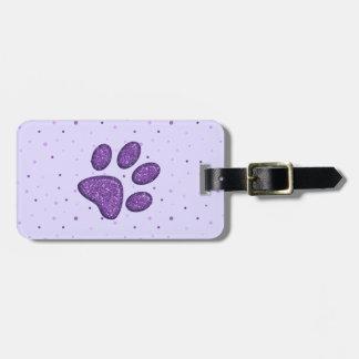 Etiqueta Para Maletas impresión chispeante de la pata del gato - púrpura