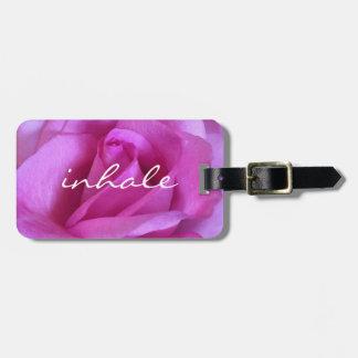 "Etiqueta Para Maletas ""Inhale"" la foto color de rosa rosada púrpura"