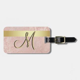 Etiqueta Para Maletas Inicial de mármol rosada elegante de la letra del