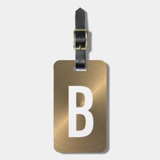 Etiqueta Para Maletas Inicial metálica cepillada de oro del monograma