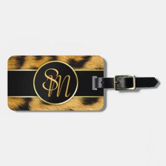 Etiqueta Para Maletas Iniciales preciosas del oro del estampado leopardo
