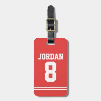 Etiqueta Para Maletas Jersey rojo del fútbol con número