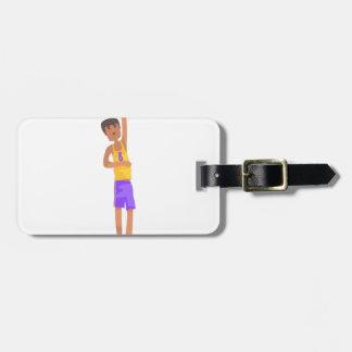 Etiqueta Para Maletas Jugador de básquet con el pegatina de la acción de