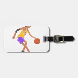 Etiqueta Para Maletas Jugador de básquet en pegatina rojo de la acción