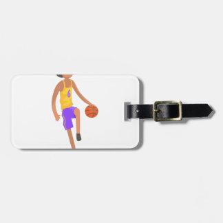 Etiqueta Para Maletas Jugador de básquet que corre con el pegatina de la
