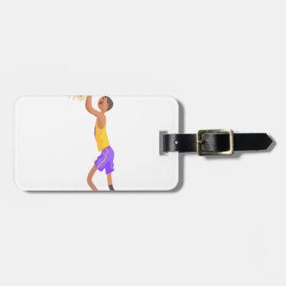 Etiqueta Para Maletas Jugador de básquet que cuelga en el pegatina de la