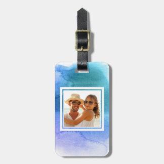 Etiqueta Para Maletas La acuarela abstracta azul el | añade su nombre