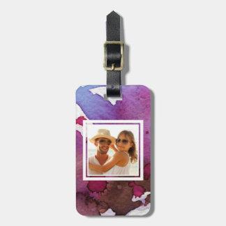 Etiqueta Para Maletas La acuarela púrpura el | añade su nombre