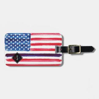 Etiqueta Para Maletas La bandera americana Blue Line fino limpia el