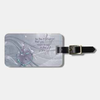 Etiqueta Para Maletas La cinta del corazón de la aguamarina, diploma,