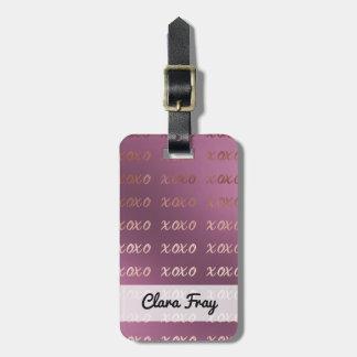 Etiqueta Para Maletas la falsa tipografía color de rosa del oro abraza y