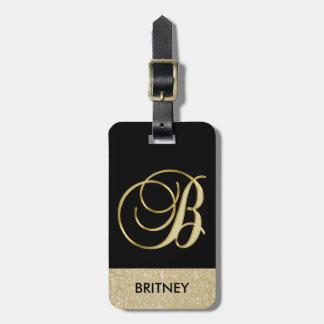 Etiqueta Para Maletas Letra negra elegante B del monograma del oro con