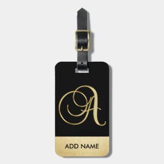 Etiqueta Para Maletas Letra negra elegante personalizada A del monograma