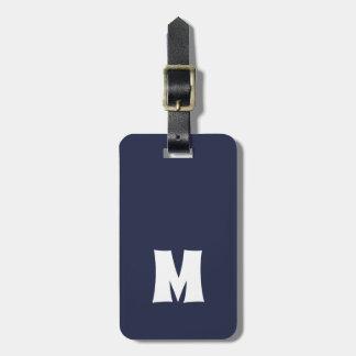 Etiqueta Para Maletas Líneas blancas azules simples monograma intrépido