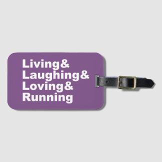 Etiqueta Para Maletas Living&Laughing&Loving&RUNNING (blanco)