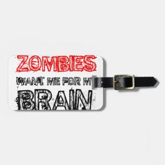 Etiqueta Para Maletas los zombis me quieren para mi cerebro