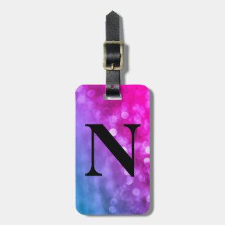Etiqueta Para Maletas Luces púrpuras, azules brillantes de Bokeh con
