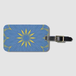 Etiqueta Para Maletas Mandala azul y amarilla