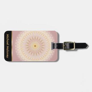 Etiqueta Para Maletas Mandala color de rosa del oro