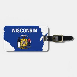 Etiqueta Para Maletas Mapa de la bandera de Wisconsin