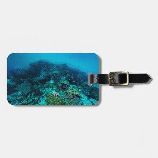 Etiqueta Para Maletas Mar de coral tropical de los pescados de la gran