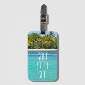 Etiqueta Para Maletas Mar tropical de la arena de la sal de la playa