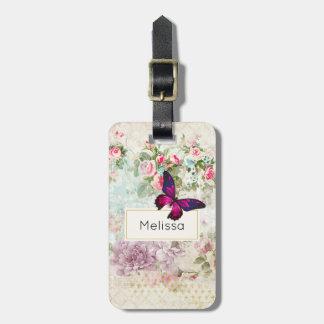 Etiqueta Para Maletas Mariposa rosada y rosas lamentables del vintage