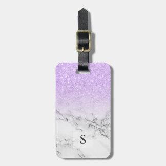 Etiqueta Para Maletas Mármol moderno del blanco del ombre del purpurina