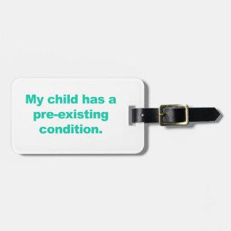 Etiqueta Para Maletas Mi niño tiene una condición preexistente