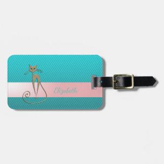 Etiqueta Para Maletas Moda moderna femenina, rayas, gato