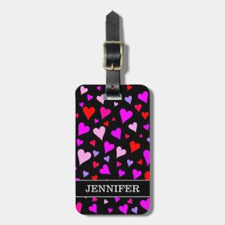 Etiqueta Para Maletas Modelo rojo, rosado, púrpura y magenta de la