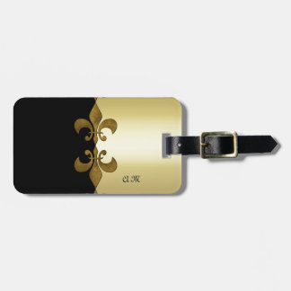 Etiqueta Para Maletas Monograma de encargo de oro del negro de oro de la