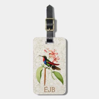 Etiqueta Para Maletas Monograma del arte del vintage del colibrí del