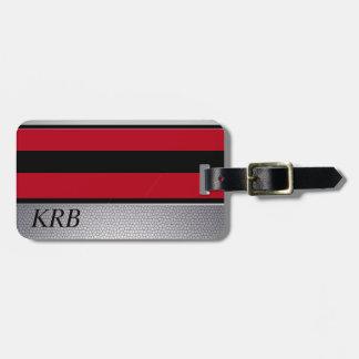 Etiqueta Para Maletas Monograma gris rojo negro del diseño de la textura