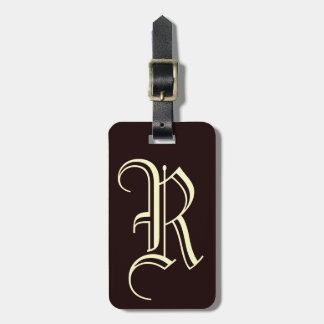 Etiqueta Para Maletas Monograma inglés de la letra R del vintage