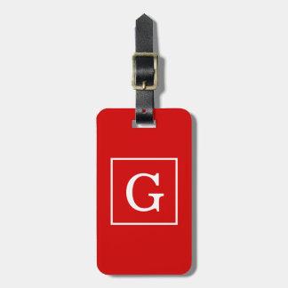 Etiqueta Para Maletas Monograma inicial enmarcado blanco rojo