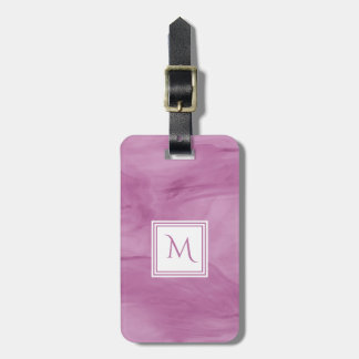 Etiqueta Para Maletas Monograma moderno de mármol sutil purpúreo claro