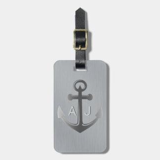 Etiqueta Para Maletas Monograma náutico del ancla de la plata metalizada