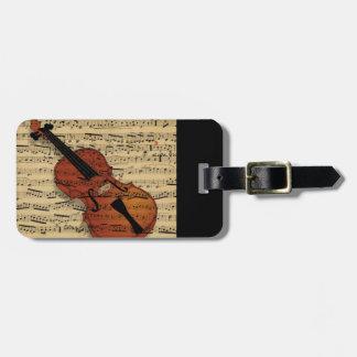 Etiqueta Para Maletas Música del vintage del violín