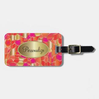 Etiqueta Para Maletas Naranja popular del mosaico, rosa y diseño del oro