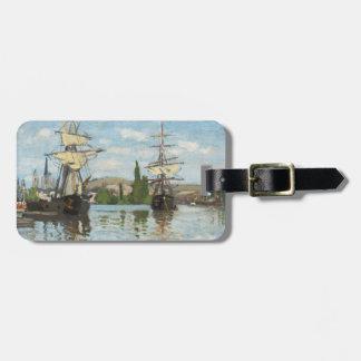 Etiqueta Para Maletas Naves de Claude Monet el   que montan en el Sena