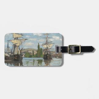 Etiqueta Para Maletas Naves de Claude Monet que montan en el Sena en