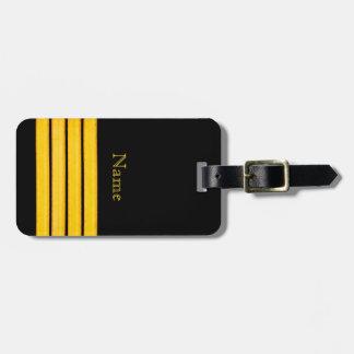 Etiqueta Para Maletas Negro con cuatro rayas náuticas amarillas del