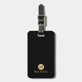 Etiqueta Para Maletas Negro de lujo y monograma personalizado oro
